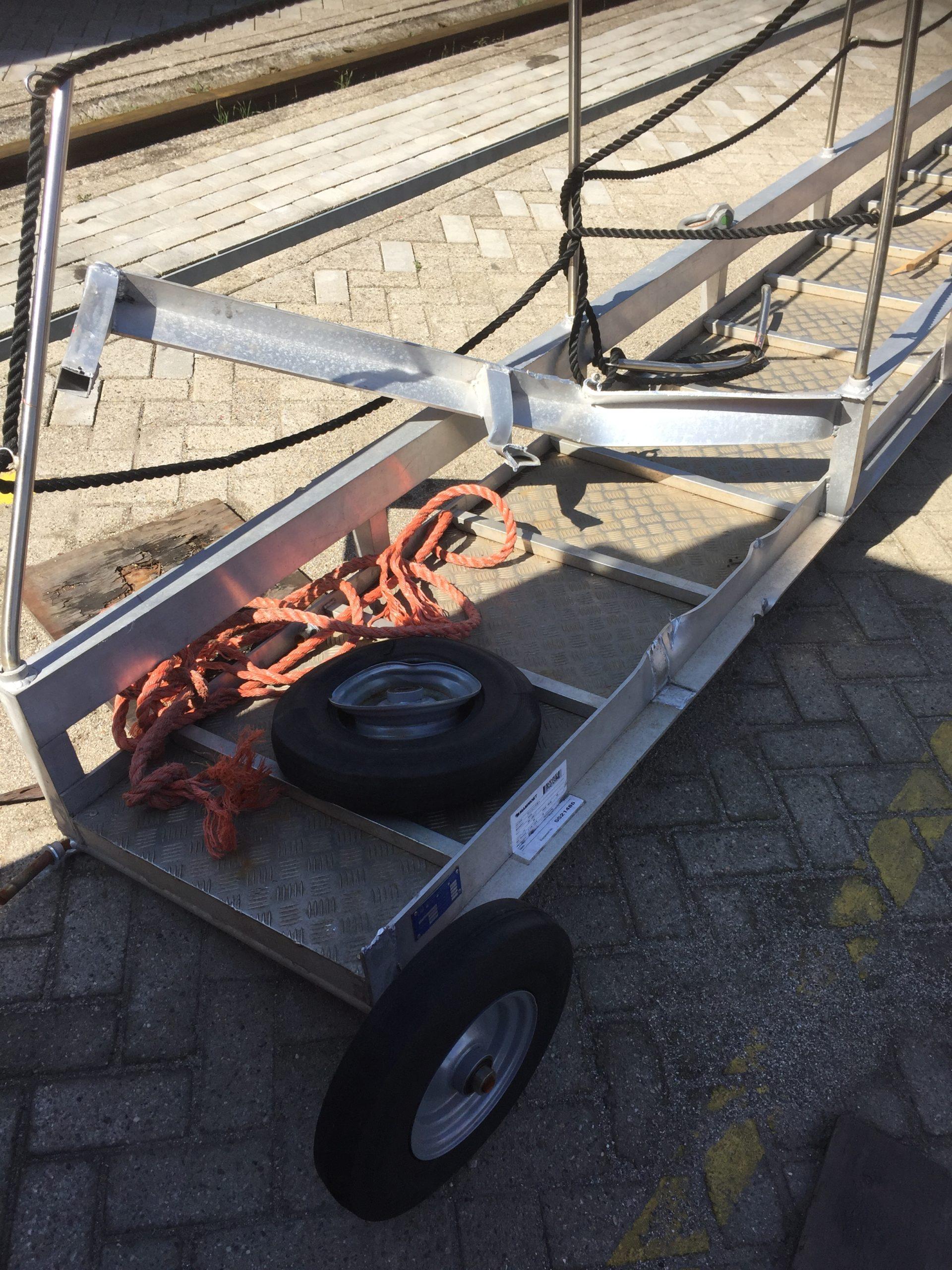 Repair of a truss style wharf ladder